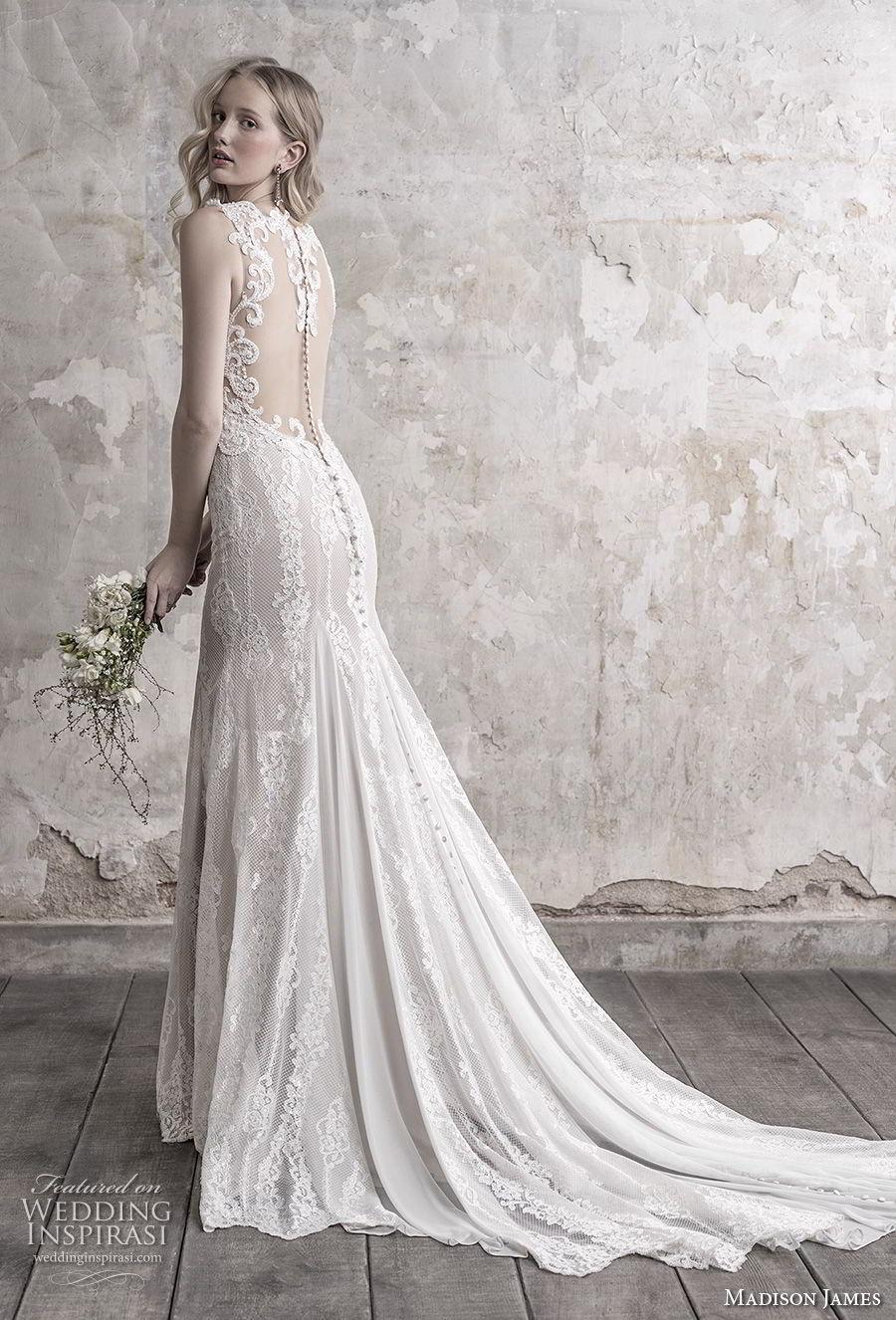 madison james fall 2018 bridal sleeveless thick strap deep sweetheart neckline elegant sheath wedding dress sheer button back chapel train (15) bv