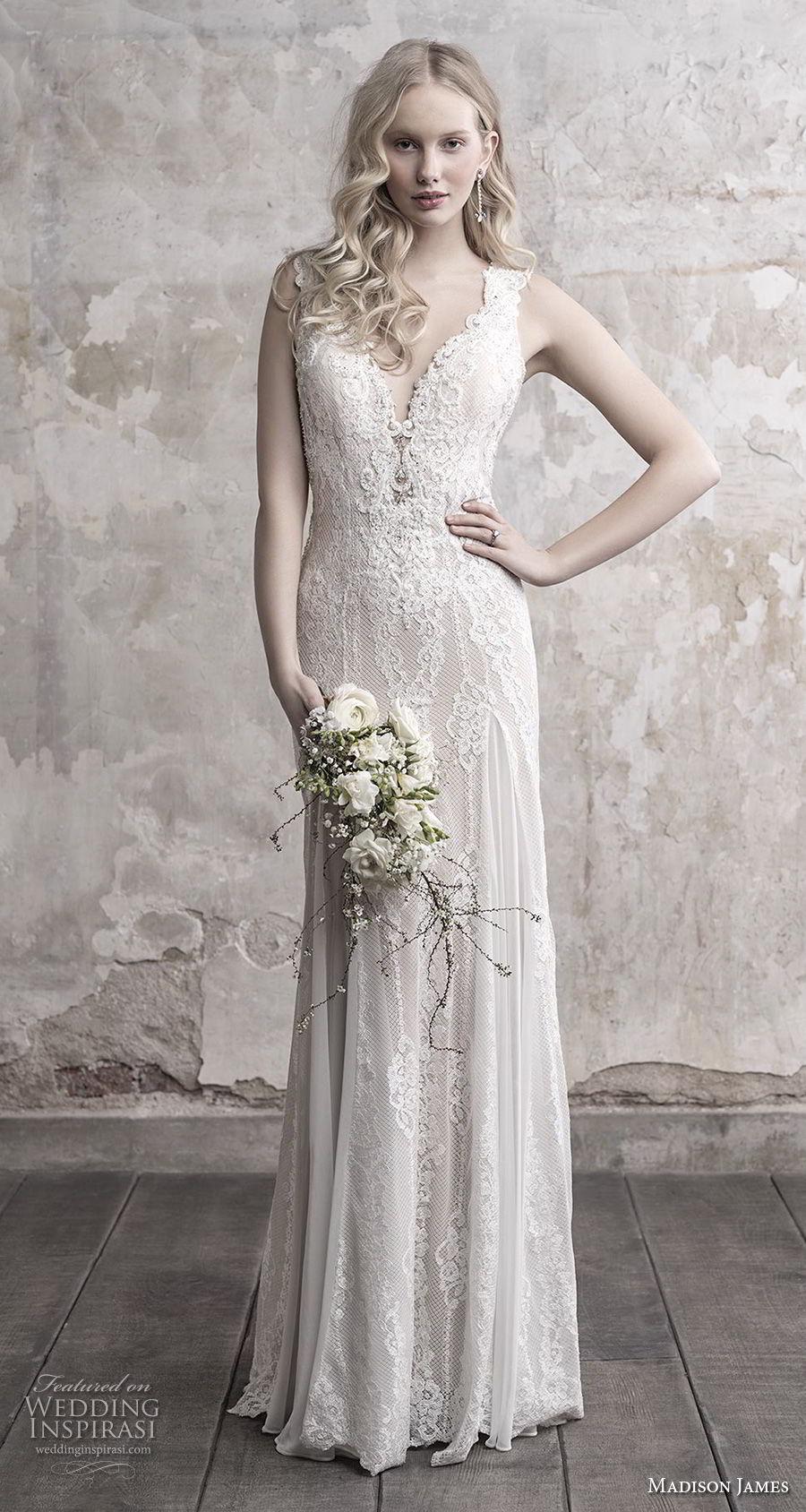 madison james fall 2018 bridal sleeveless thick strap deep sweetheart neckline elegant sheath wedding dress sheer button back chapel train (15) mv