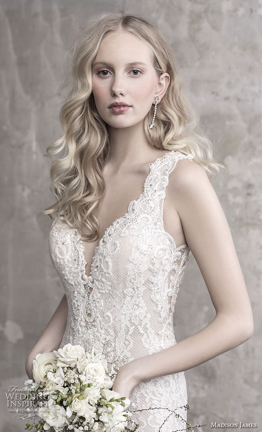 madison james fall 2018 bridal sleeveless thick strap deep sweetheart neckline elegant sheath wedding dress sheer button back chapel train (15) zv
