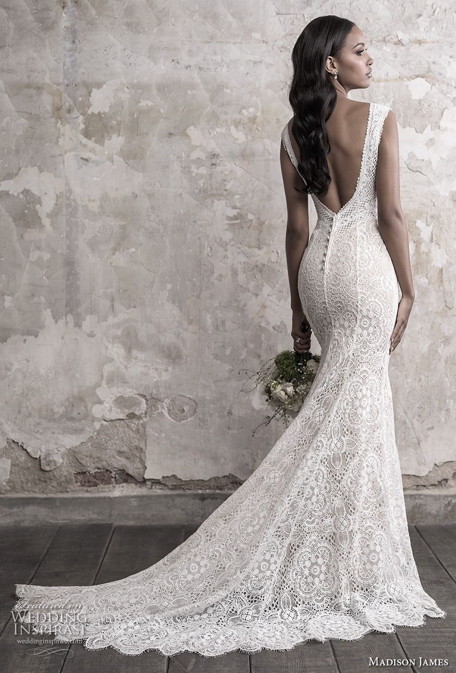 madison james fall 2018 bridal sleeveless v neck full embellishment elegant sheath fit and flare wedding dress open back chapel train (2) bv