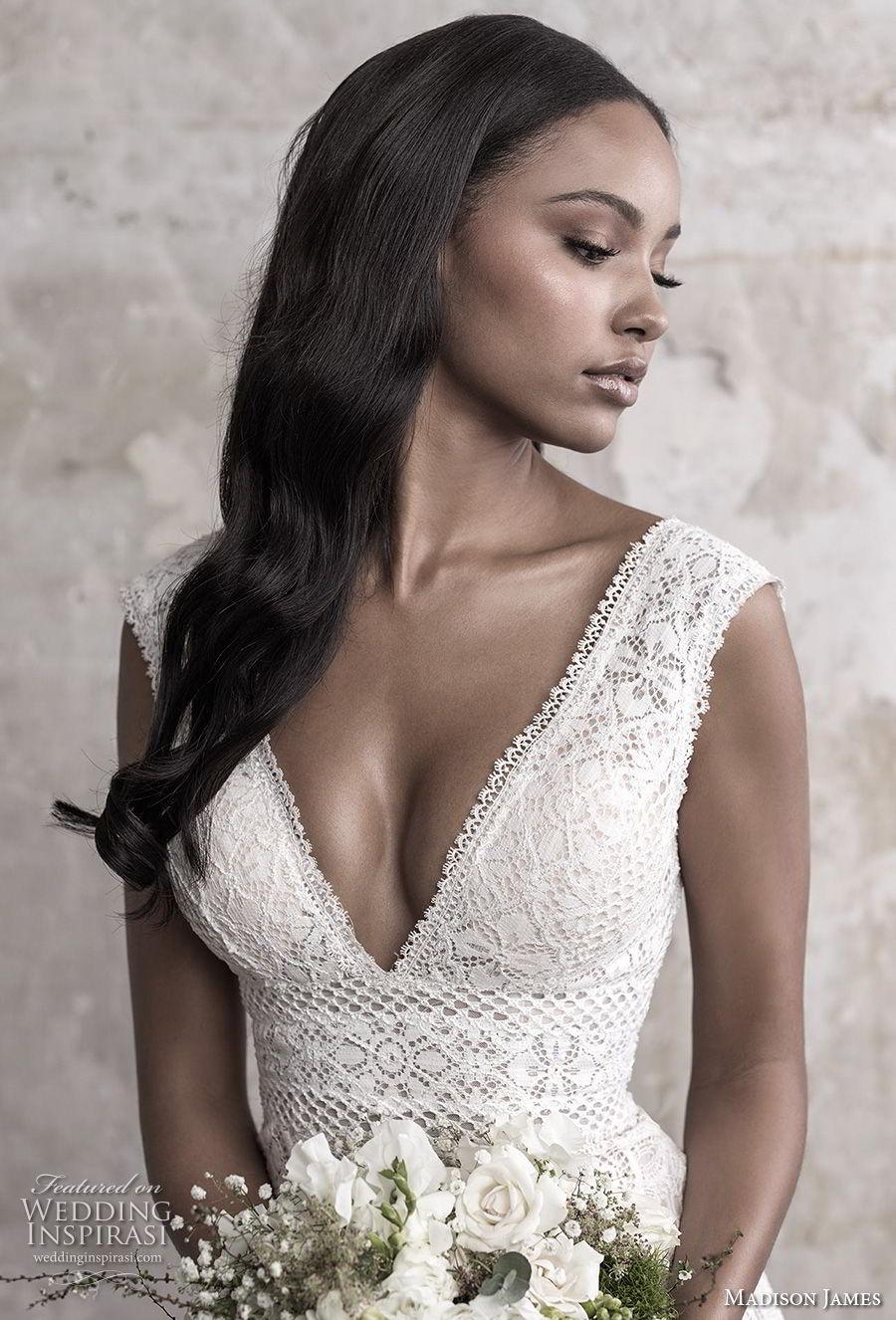 madison james fall 2018 bridal sleeveless v neck full embellishment elegant sheath fit and flare wedding dress open back chapel train (2) zv