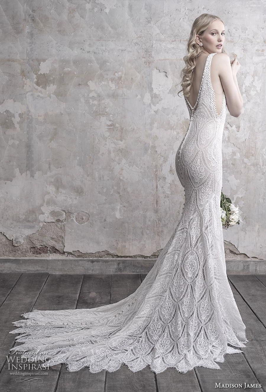 madison james fall 2018 bridal sleeveless v neck full embellishment open side elegant sheath wedding dress open back chapel train (16) bv