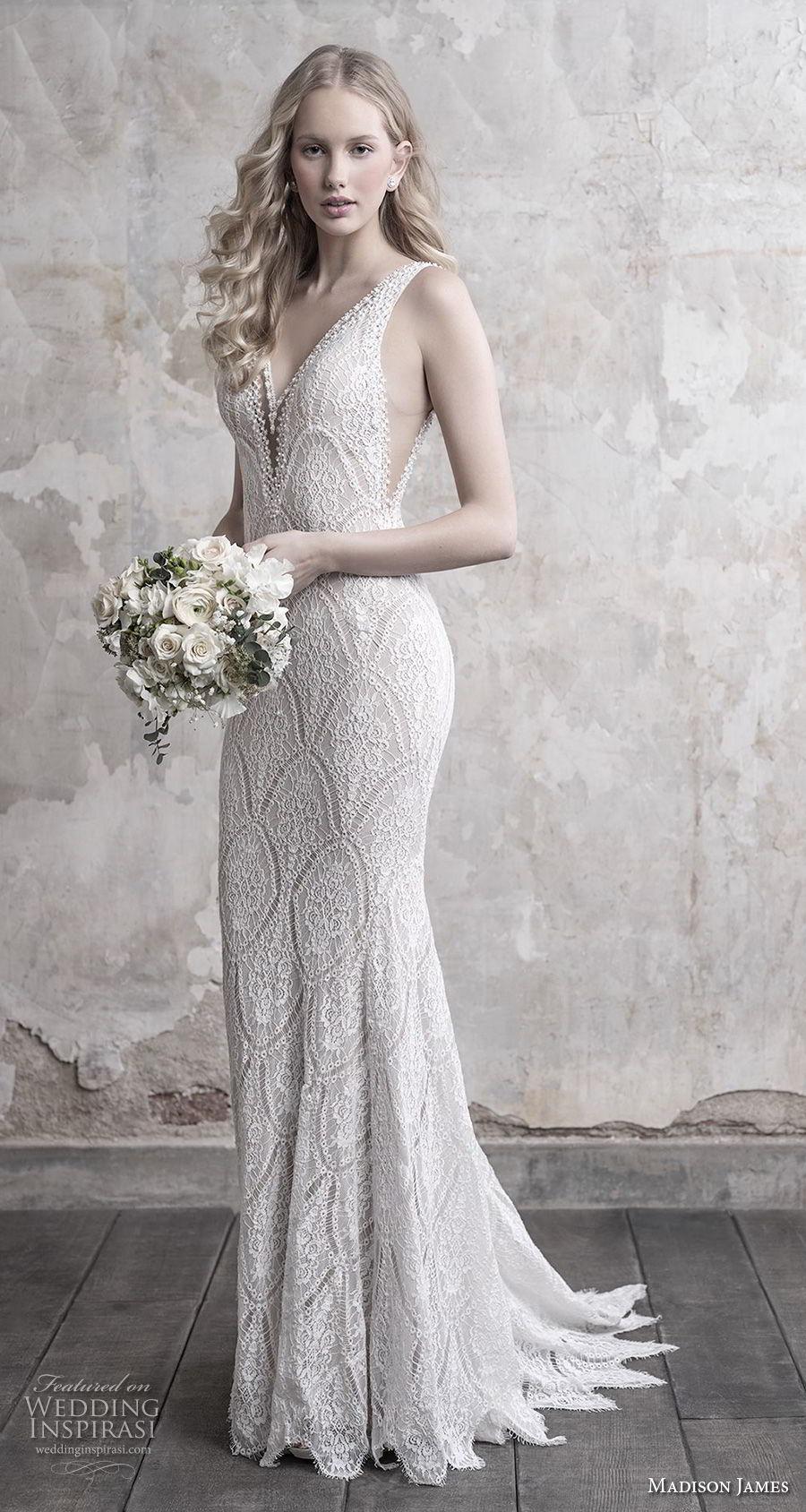 madison james fall 2018 bridal sleeveless v neck full embellishment open side elegant sheath wedding dress open back chapel train (16) mv