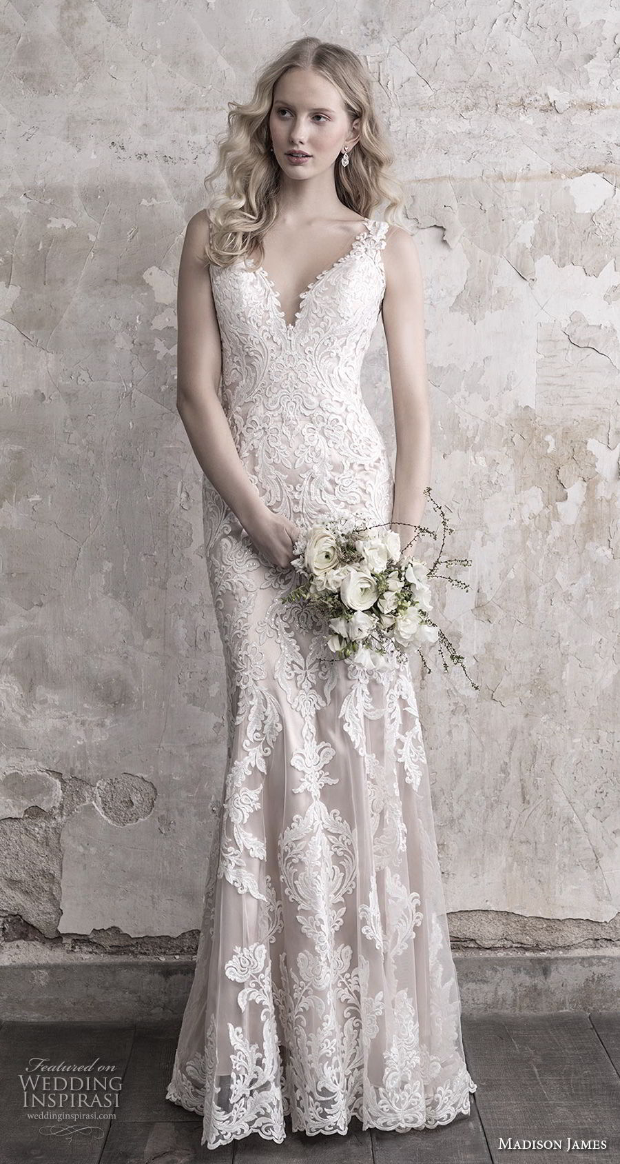 madison james fall 2018 bridal sleeveless with strap deep sweetheart neckline full embellishment elegant sheath wedding dress sheer button back long train (11) mv