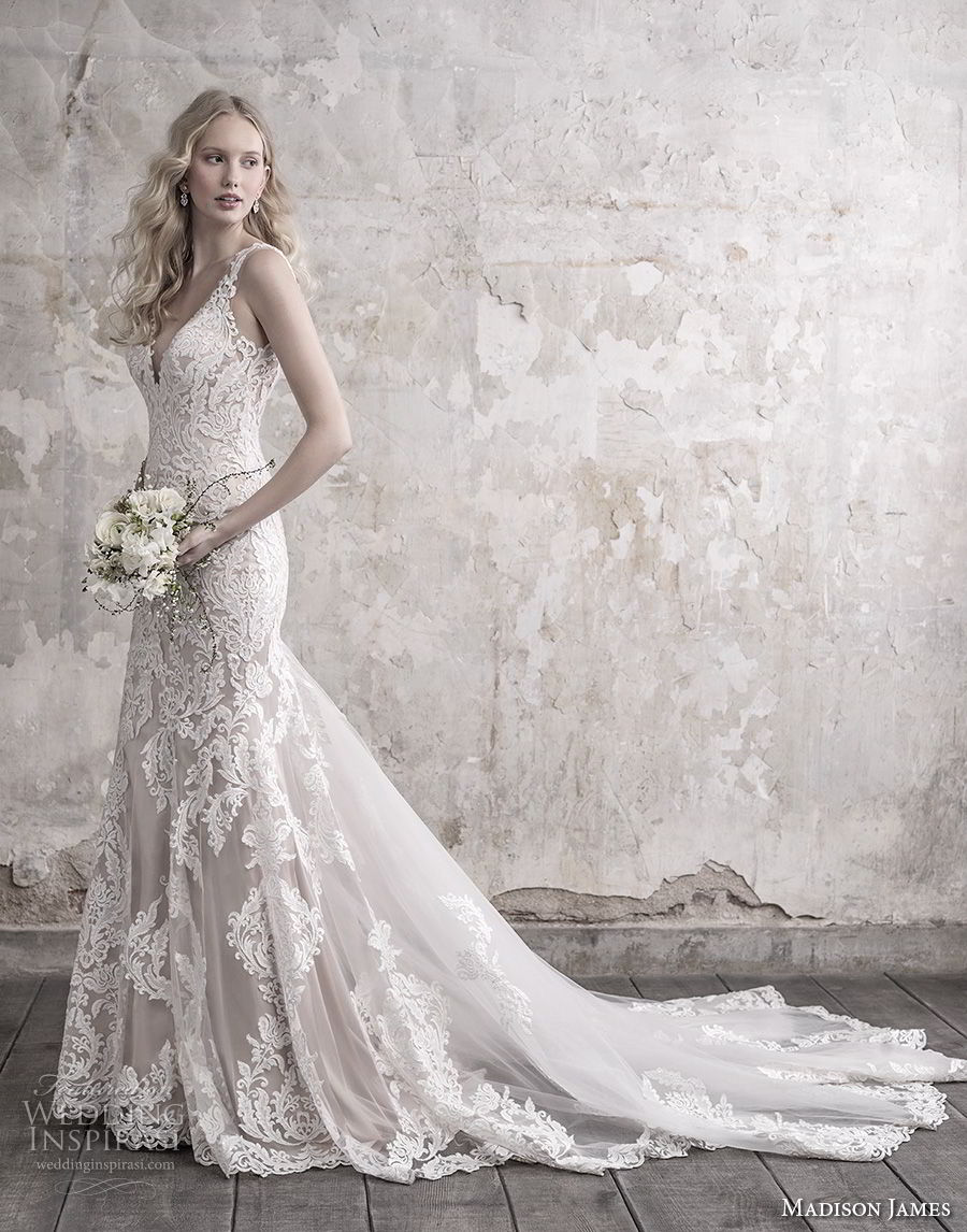 madison james fall 2018 bridal sleeveless with strap deep sweetheart neckline full embellishment elegant sheath wedding dress sheer button back long train (11) sdv