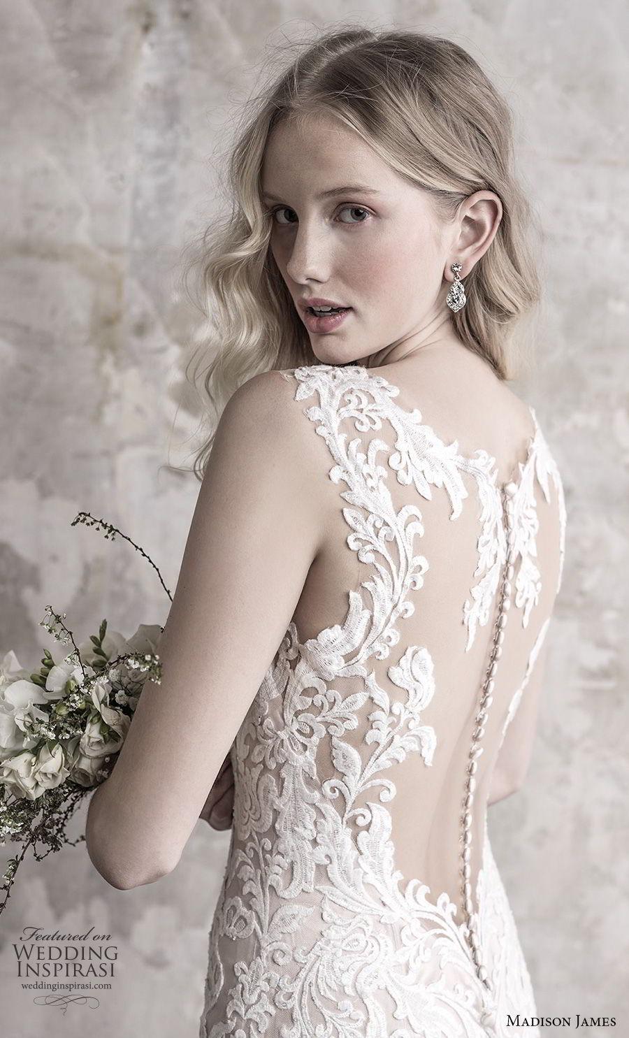 madison james fall 2018 bridal sleeveless with strap deep sweetheart neckline full embellishment elegant sheath wedding dress sheer button back long train (11) zbv