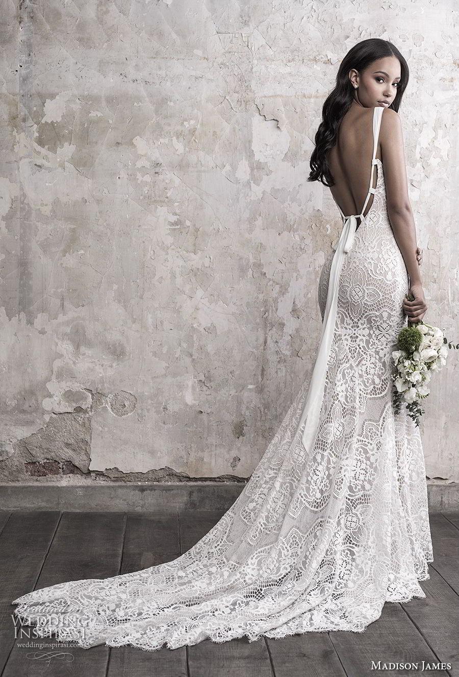madison james fall 2018 bridal sleeveless with strap v neck full embellishment elegant fit and flare sheath wedding dress open back chapel train (12) bv