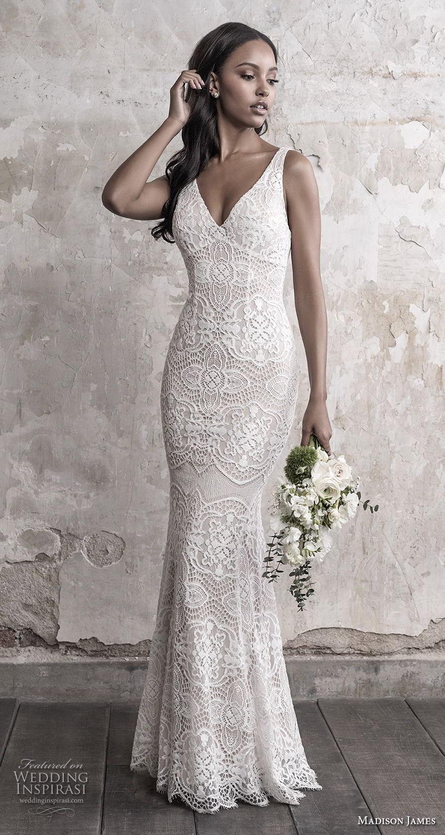 madison james fall 2018 bridal sleeveless with strap v neck full embellishment elegant fit and flare sheath wedding dress open back chapel train (12) mv