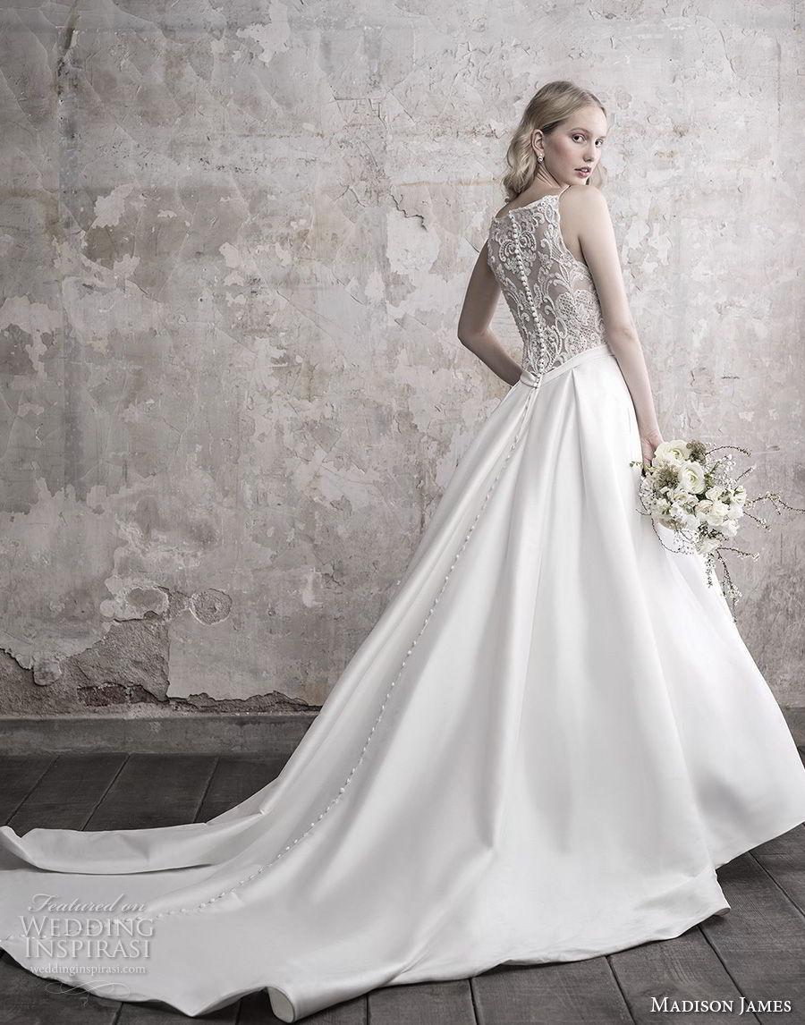 madison james fall 2018 bridal spaghetti strap diamond neck heavily embellished bodice satin skirt romantic a  line wedding dress full lace back long train (9) bv