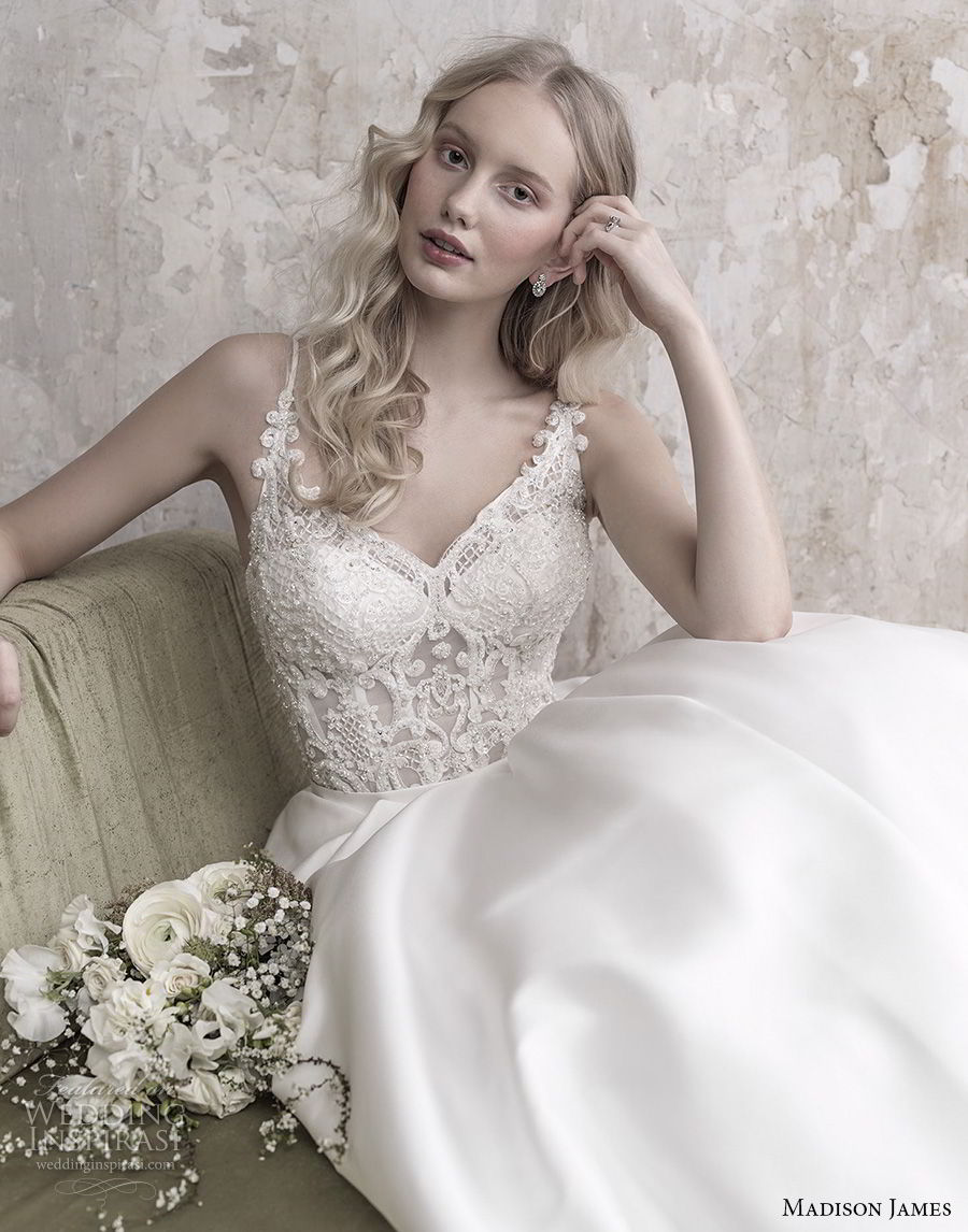 madison james fall 2018 bridal spaghetti strap diamond neck heavily embellished bodice satin skirt romantic a  line wedding dress full lace back long train (9) zv