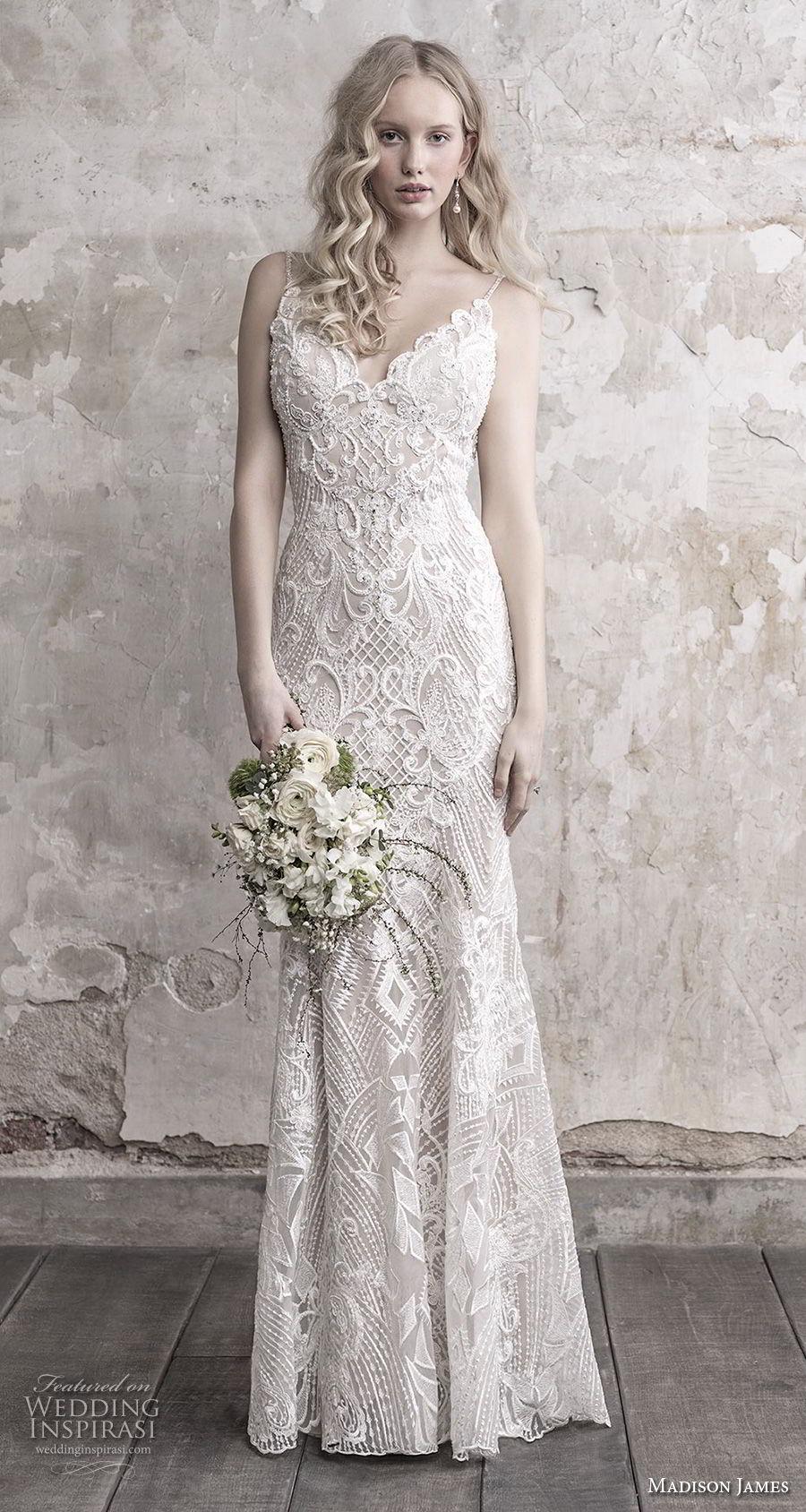 madison james fall 2018 bridal spaghetti strap sweetheart neckline full embellishment elegant sheath wedding dress open back chapel train (4) mv