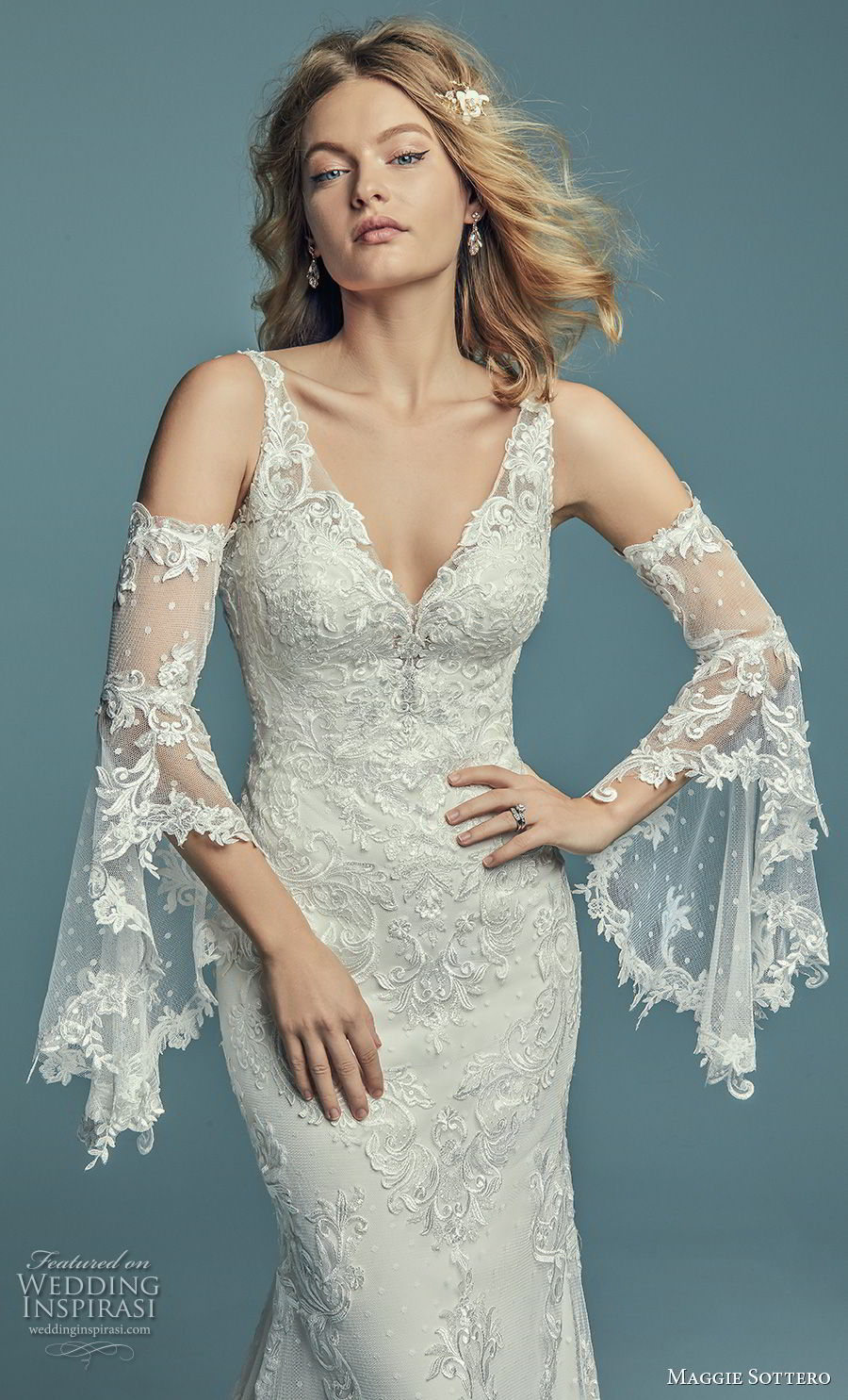 maggie sottero fall 2018 bridal long bell sleeves cold shoulder v neck full embellishment elegant fit and flare wedding dress open scoop back chapel train (16) zv