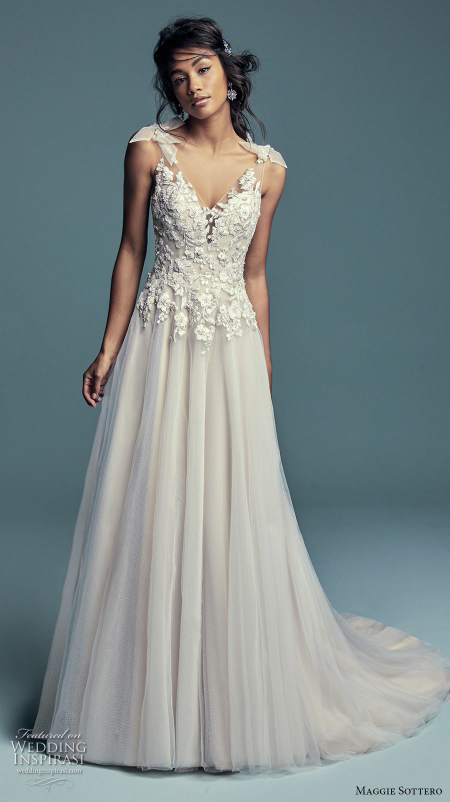 maggie sottero fall 2018 bridal ribbon strap sheer v neck sweetheart neckline heavily embellished bodice romantic soft a  line wedding dress sheer button back chapel train (10) mv