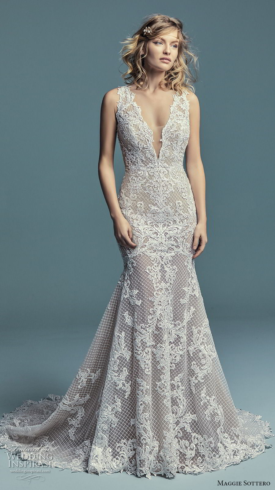 maggie sottero fall 2018 bridal sleeveless deep v neck full embellishment elegant trumpet wedding dress open back chapel train (13) mv