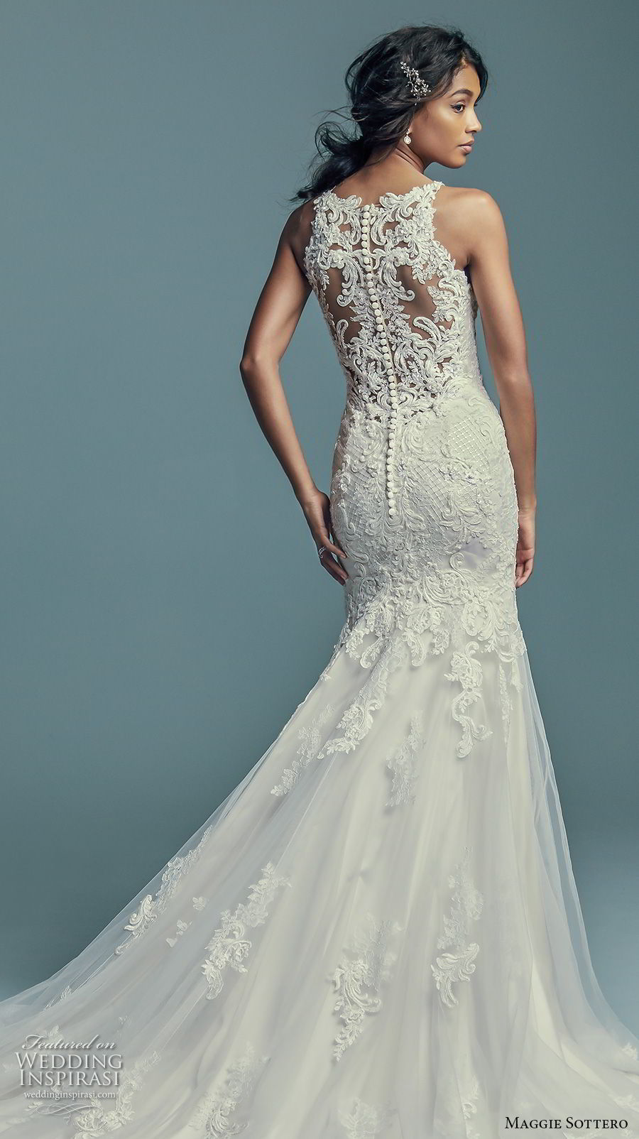 maggie sottero fall 2018 bridal sleeveless illusion halter sweetheart neckline full embellishment elegant fit and flare wedding dress sheer lace back chapel train (14) bv