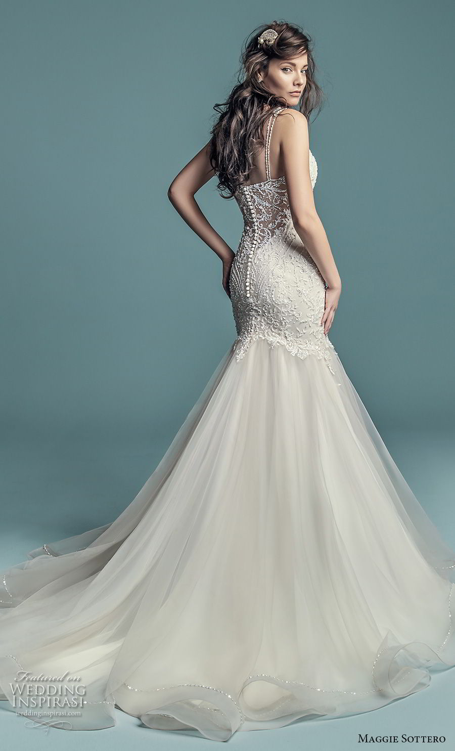 31997d187a7 maggie sottero fall 2018 bridal sleeveless illusion jewel neck sweetheart  neckline heavily embellished bodice elegant mermaid