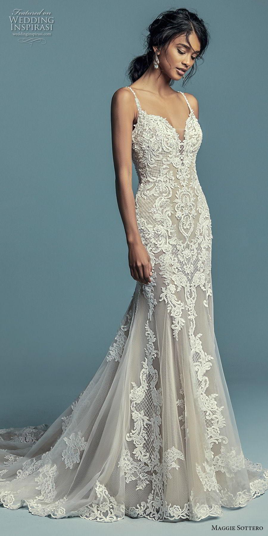 maggie sottero fall 2018 bridal sleeveless thin strap sweetheart neckline full embellishment elegant mermaid wedding dress chapel train (1) mv