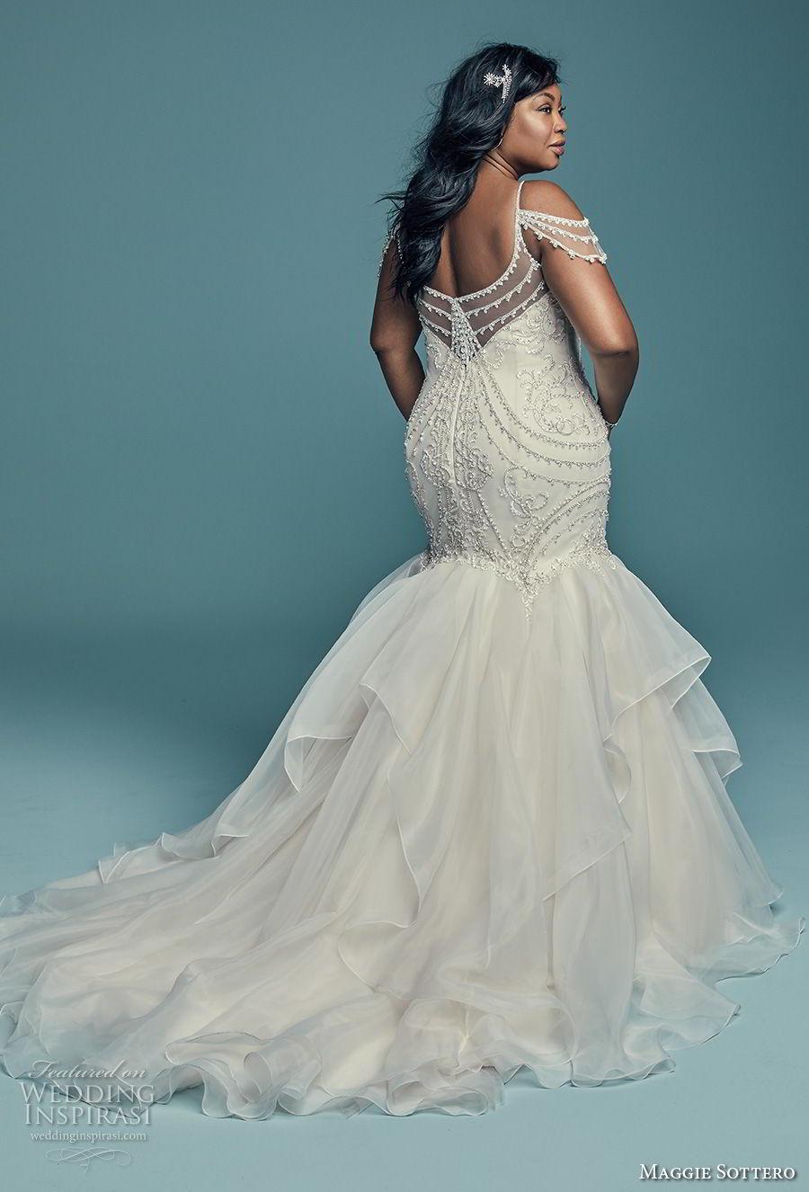 maggie sottero fall 2018 bridal spaghetti strap cold shoulder sweetheart neckline heavily embellished bodice glitzy glamorous elegant mermaid wedding dress chapel train (5) bv