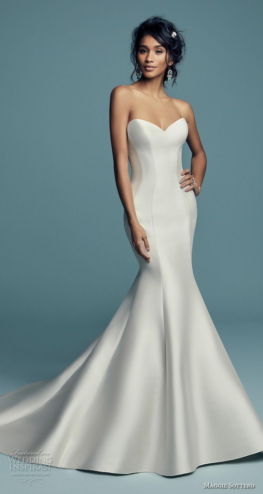 maggie sottero fall 2018 bridal strapless sweetheart neckline minimalist simple elegant trumpet wedding dress chapel train (6) mv