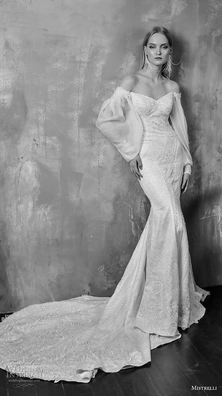 e265840e97d mistrelli 2019 bridal off the shoulder long poet sleeves full embellishment  elegant fit and flare wedding