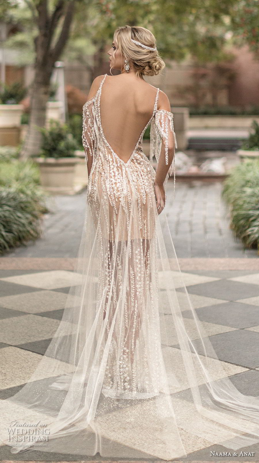 naama anat spring 2019 bridal cold shoulder spaghetti strap deep plunging sweetheart neckline full embellishment glamorous elegant sheath wedding dress open back chapel train (8) bv