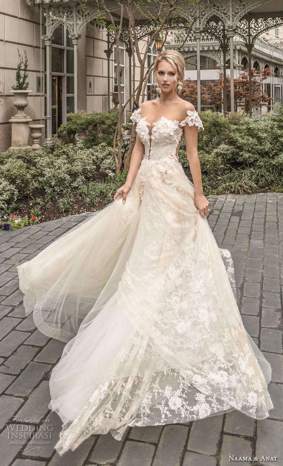 naama anat spring 2019 bridal off the shoulder deep plunging sweetheart neckline full embellishment romantic a  line wedding dress sheer back chapel train (1) mv