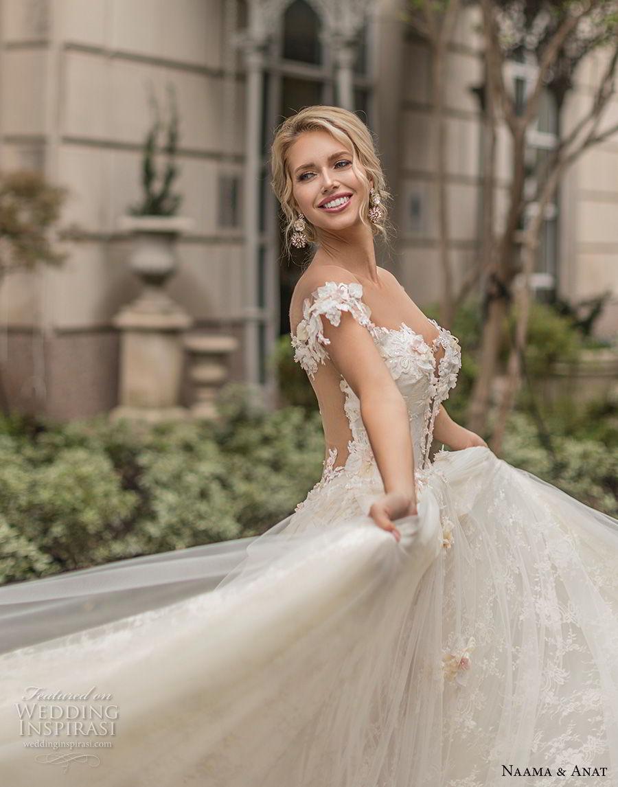 naama anat spring 2019 bridal off the shoulder deep plunging sweetheart neckline full embellishment romantic a  line wedding dress sheer back chapel train (1) zv