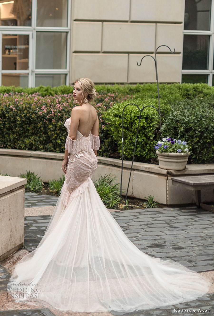 naama anat spring 2019 bridal off the shoulder sweetheart neckline heavily embellished bodice vintage blush mermaid wedding dress open back chapel train (6) bv
