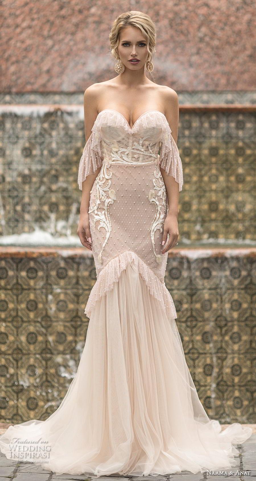 naama anat spring 2019 bridal off the shoulder sweetheart neckline heavily embellished bodice vintage blush mermaid wedding dress open back chapel train (6) mv