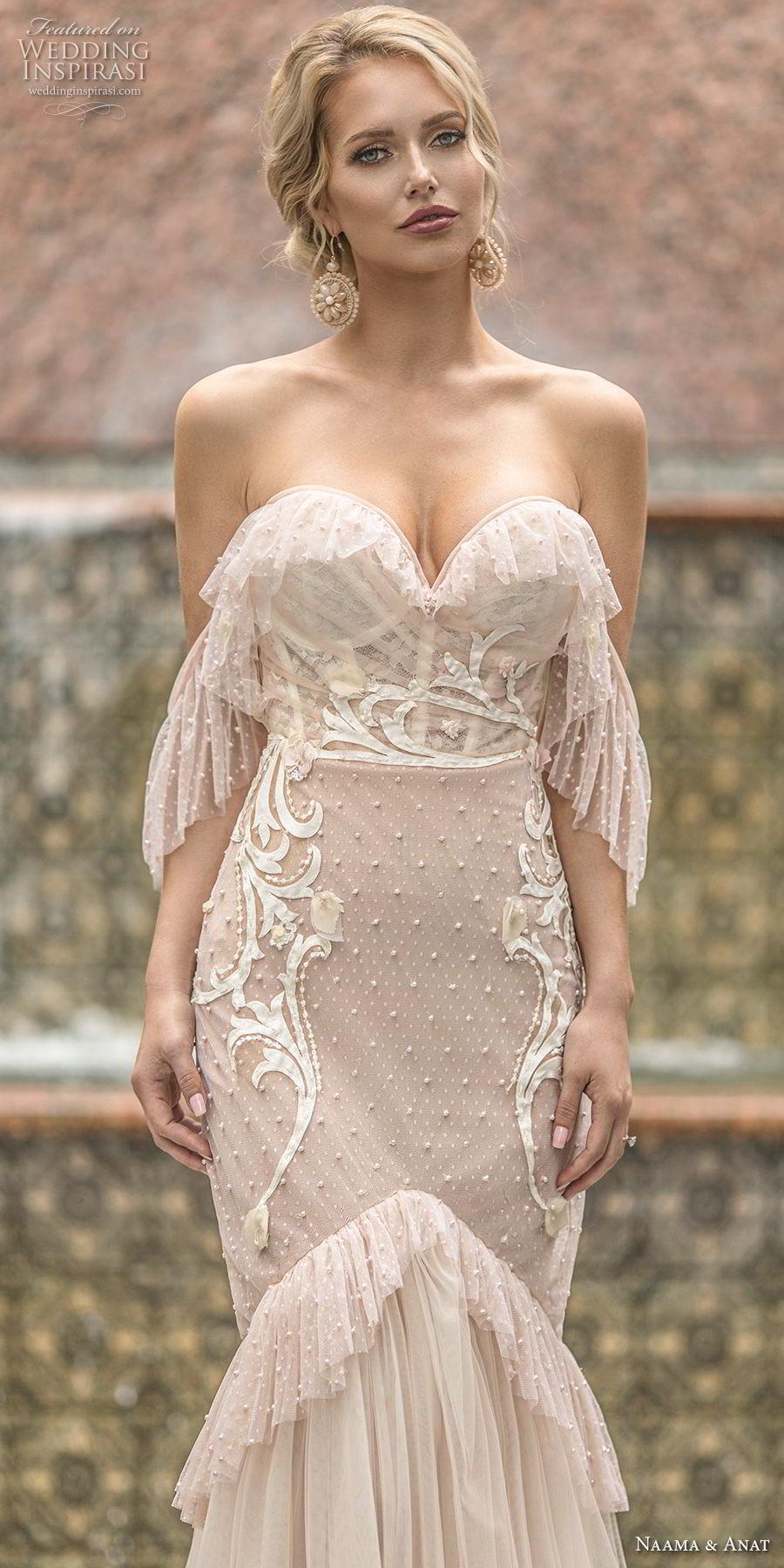 naama anat spring 2019 bridal off the shoulder sweetheart neckline heavily embellished bodice vintage blush mermaid wedding dress open back chapel train (6) zv