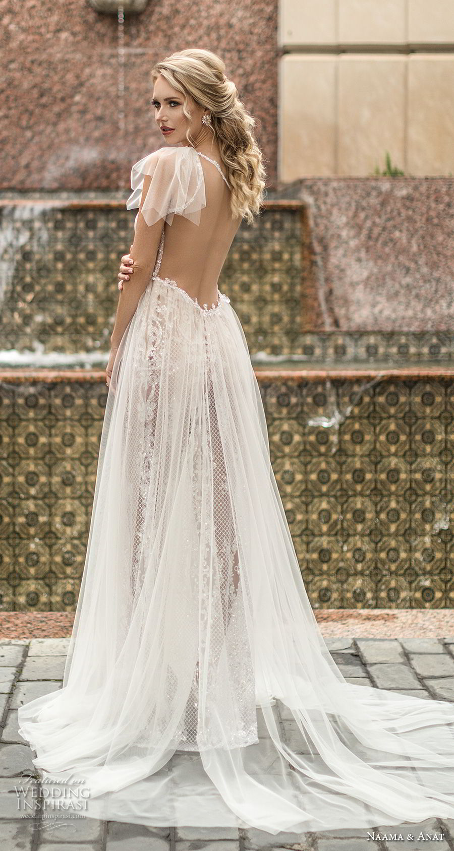 naama anat spring 2019 bridal one shoulder slope neckline full embellishment slit skirt romantic sheath wedding dress a line overskirt sheer back chapel train (3) bv