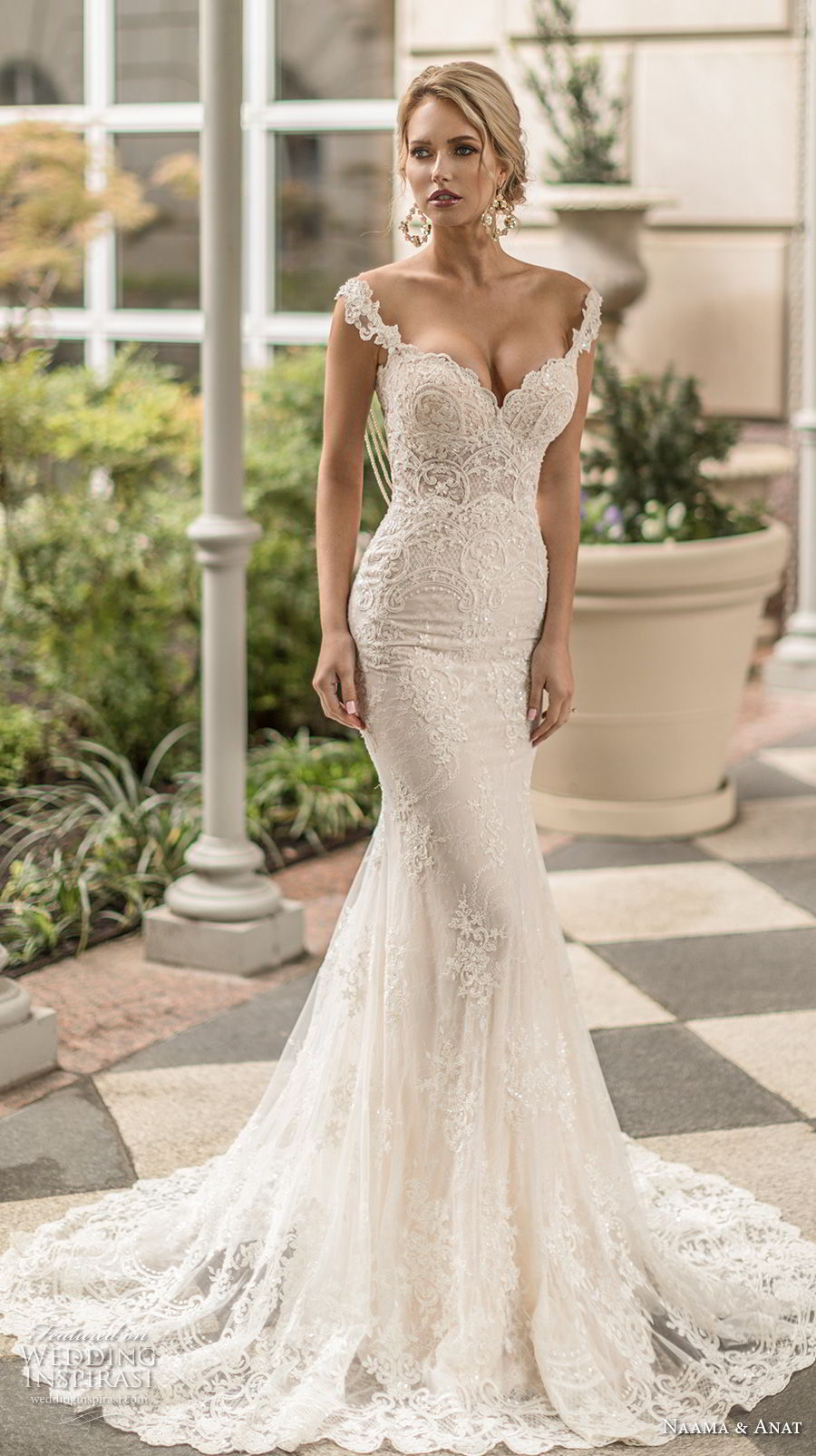 naama anat spring 2019 bridal sleeveless embellished strap sweetheart neckline full embellishment elegant fit and flare mermaid wedding dress open low back sweep train (2) mv