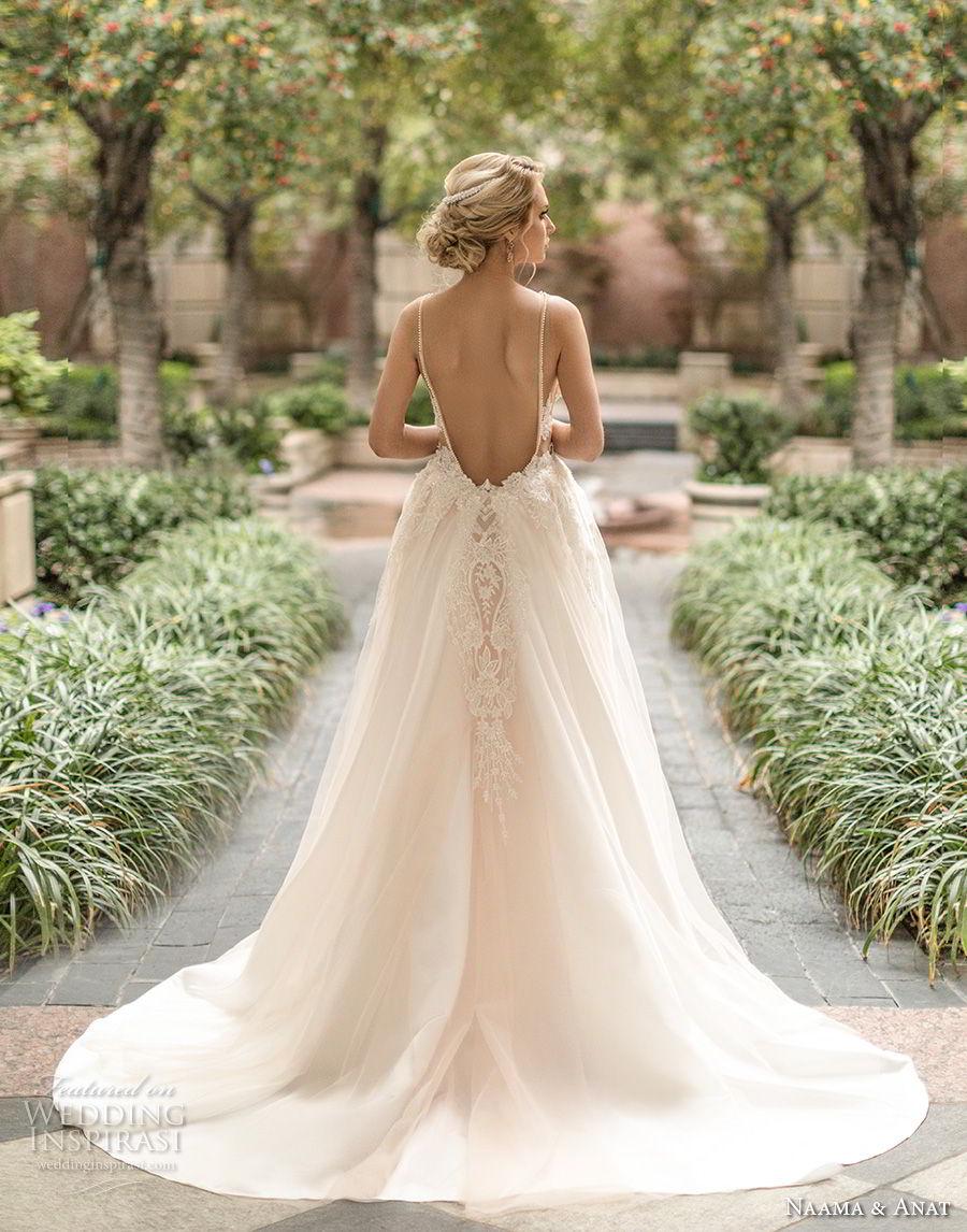 naama anat spring 2019 bridal sleeveless with strap deep v neck full embellishment sexy glamorous sheath wedding dress a  line overskirt low open back chapel train (4) bv
