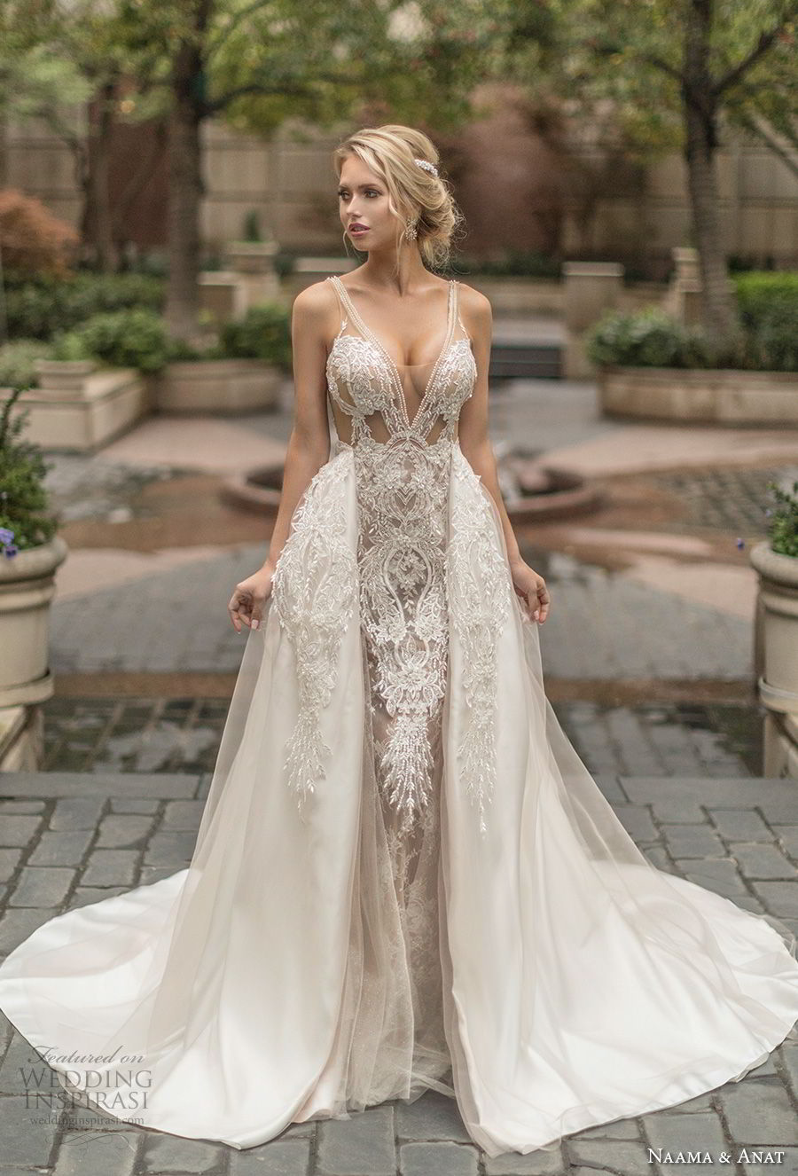 naama anat spring 2019 bridal sleeveless with strap deep v neck full embellishment sexy glamorous sheath wedding dress a line overskirt low open back chapel train (4) mv