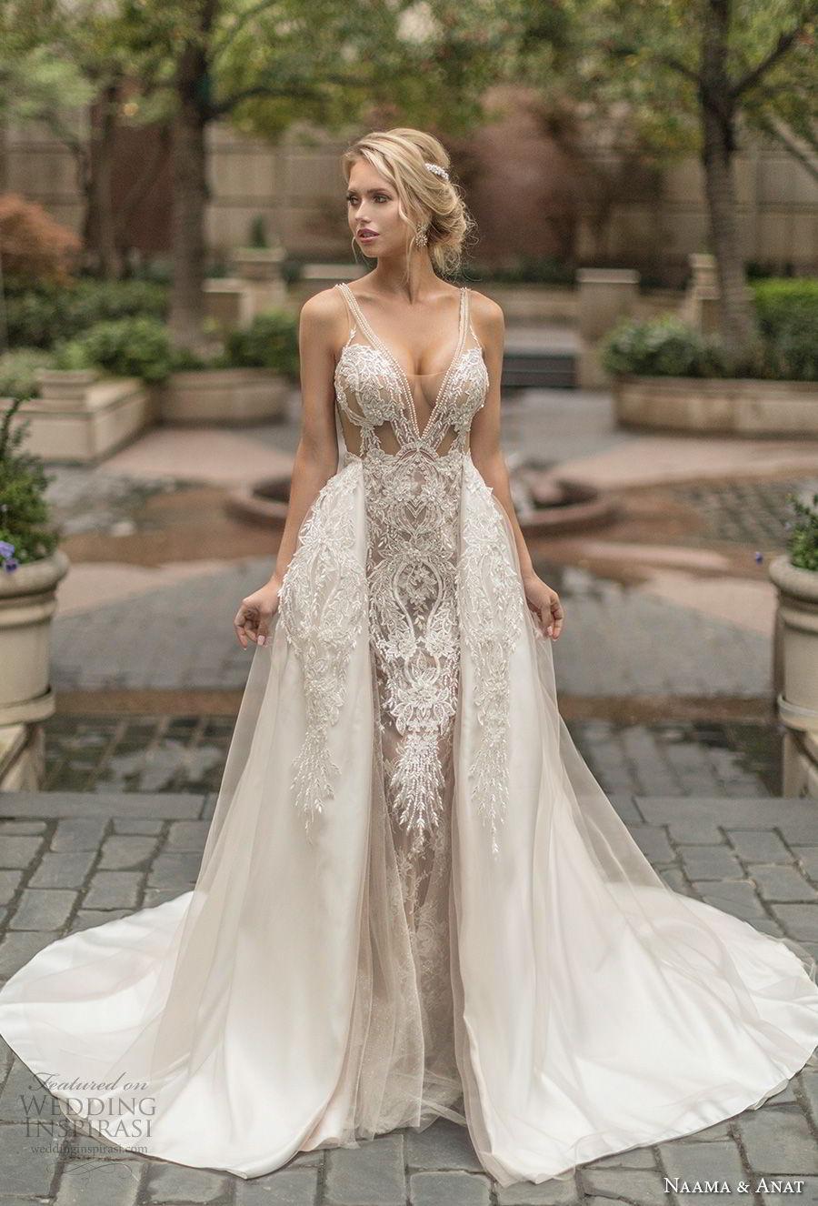 naama anat spring 2019 bridal sleeveless with strap deep v neck full embellishment sexy glamorous sheath wedding dress a  line overskirt low open back chapel train (4) mv