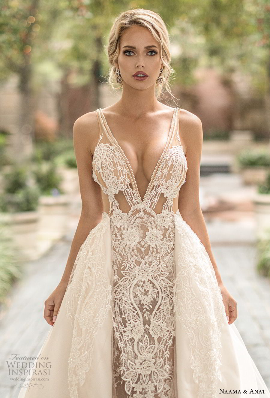 naama anat spring 2019 bridal sleeveless with strap deep v neck full embellishment sexy glamorous sheath wedding dress a line overskirt low open back chapel train (4) zv