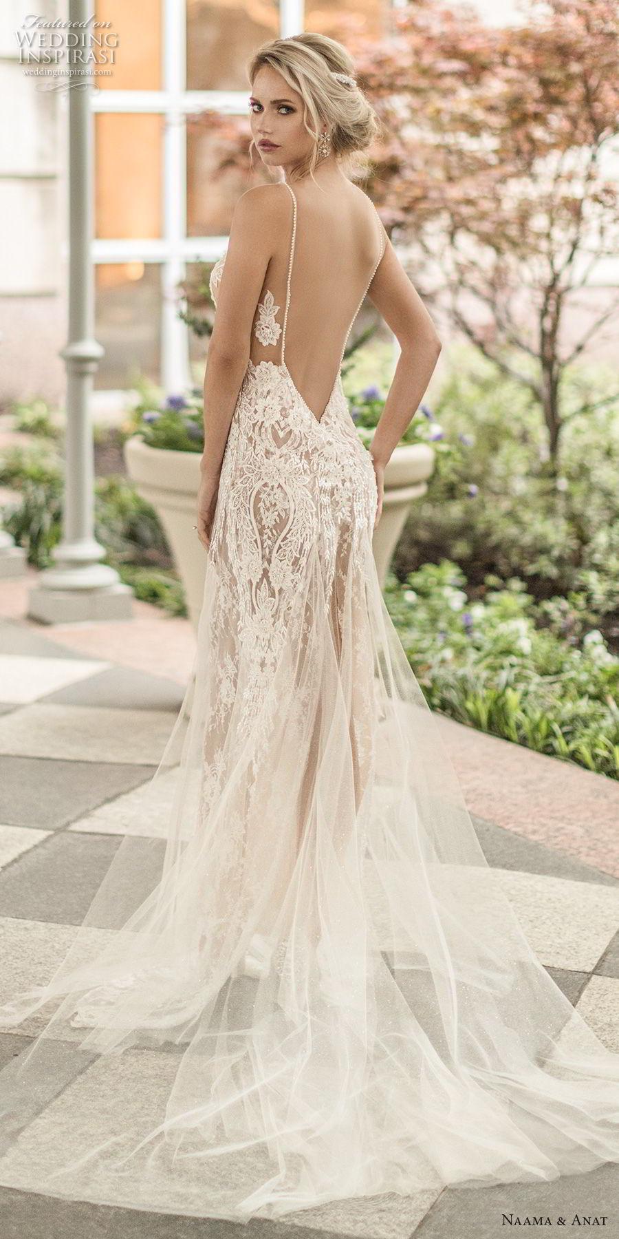 naama anat spring 2019 bridal sleeveless with strap deep v neck full embellishment sexy glamorous sheath wedding dress  low open back chapel train (4) bv