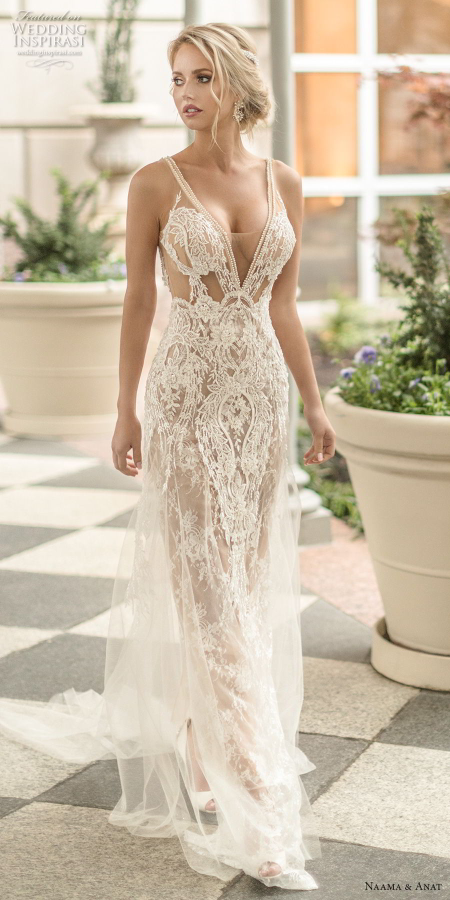 naama anat spring 2019 bridal sleeveless with strap deep v neck full embellishment sexy glamorous sheath wedding dress  low open back chapel train (4) mv