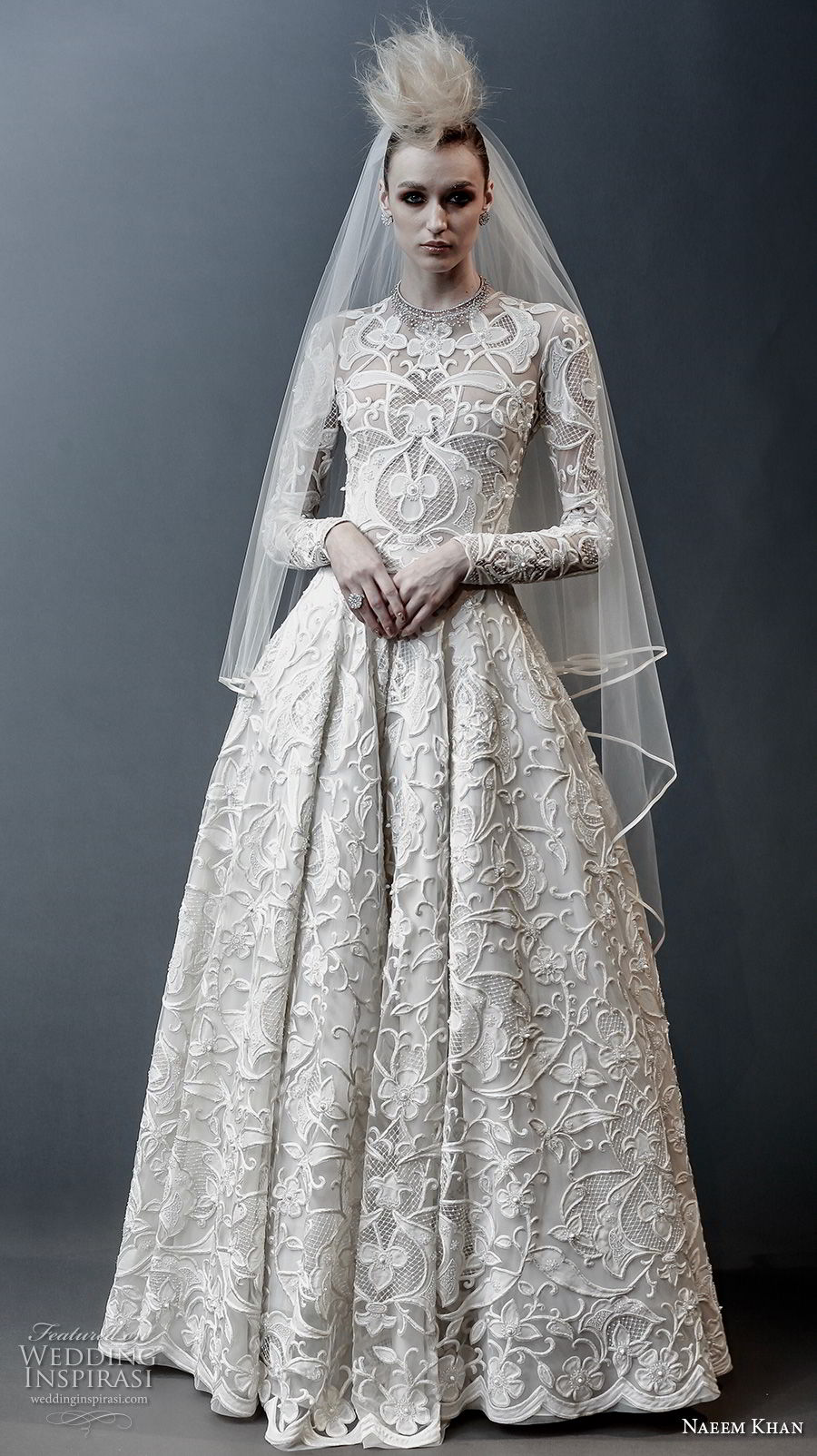 Naeem Khan Spring 2019 Bridal Long Sleeves Jewel Neck Full Embellishment  Modest Princess Ball Gown A