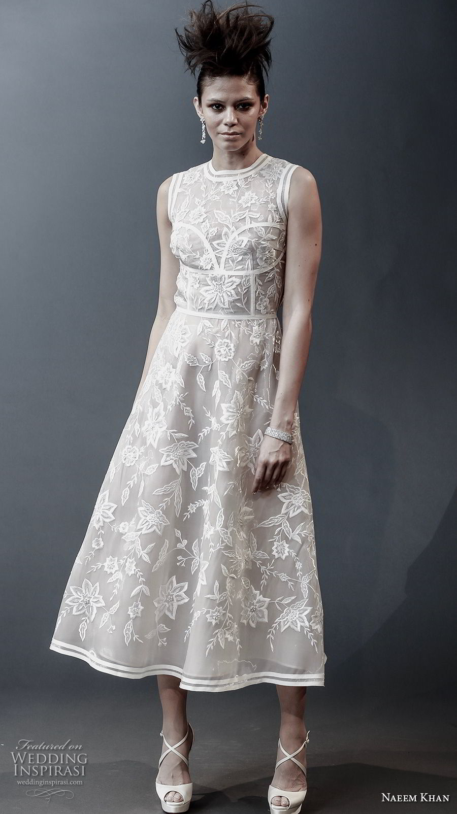 c12aed9a00c33 naeem khan spring 2019 bridal sleeveless jewel neck full embellishment  romantic tea length short wedding dress