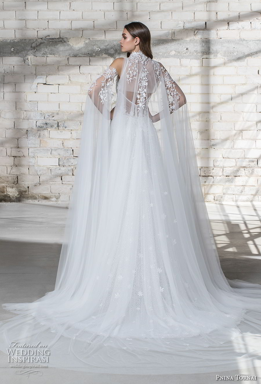 pnina tornai 2019 love bridal cold shoulder illusion high neck deep sweetheart neckline heavily embellished bodice romantic princess a line wedding dress sheer lace back chapel train (6) bv