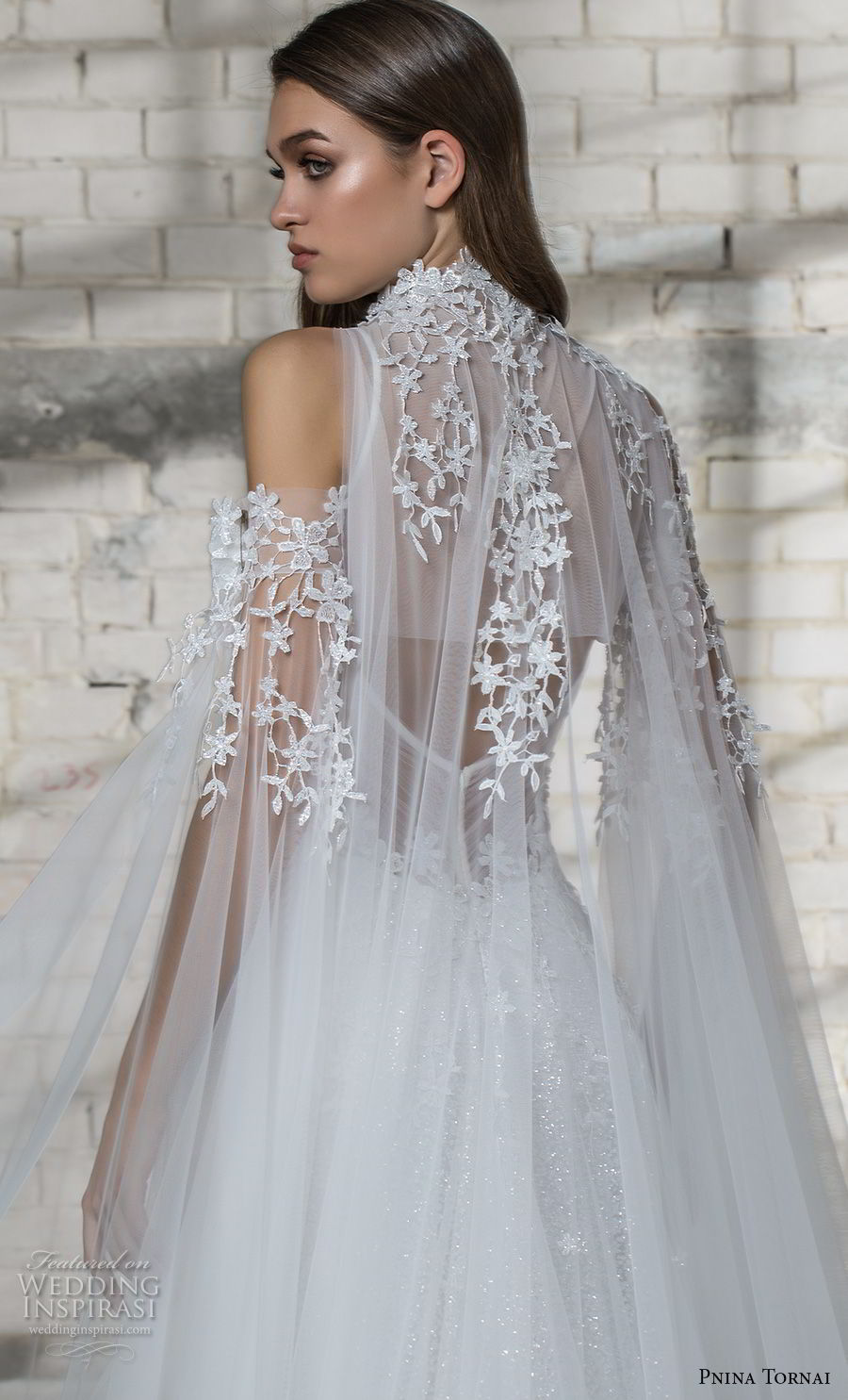 pnina tornai 2019 love bridal cold shoulder illusion high neck deep sweetheart neckline heavily embellished bodice romantic princess a line wedding dress sheer lace back chapel train (6) zbv