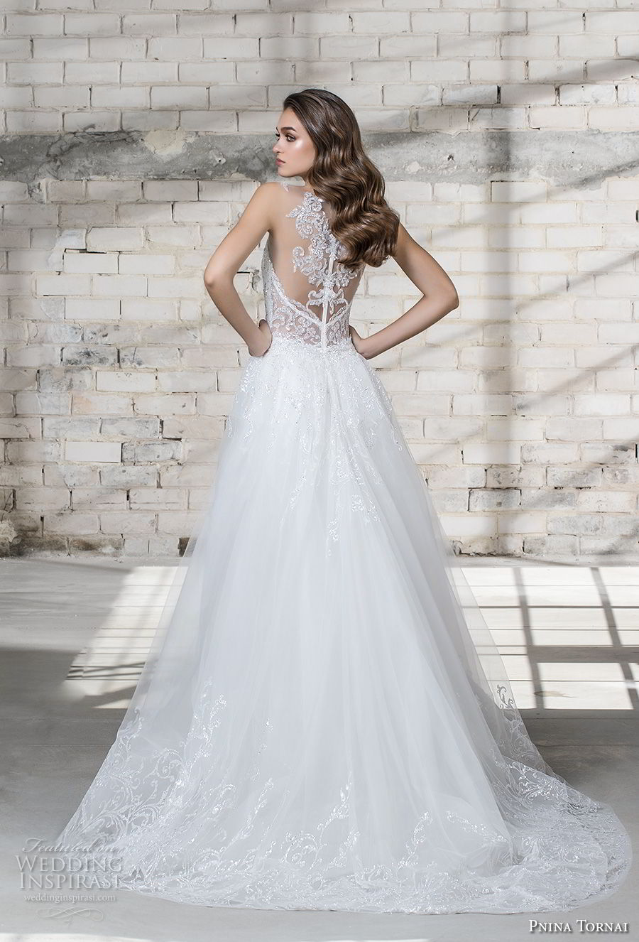 pnina tornai 2019 love bridal embellished strap deep plunging sweetheart neckline full embellishment elegant fit and flare wedding dress a line overskirt chapel train (17) bv