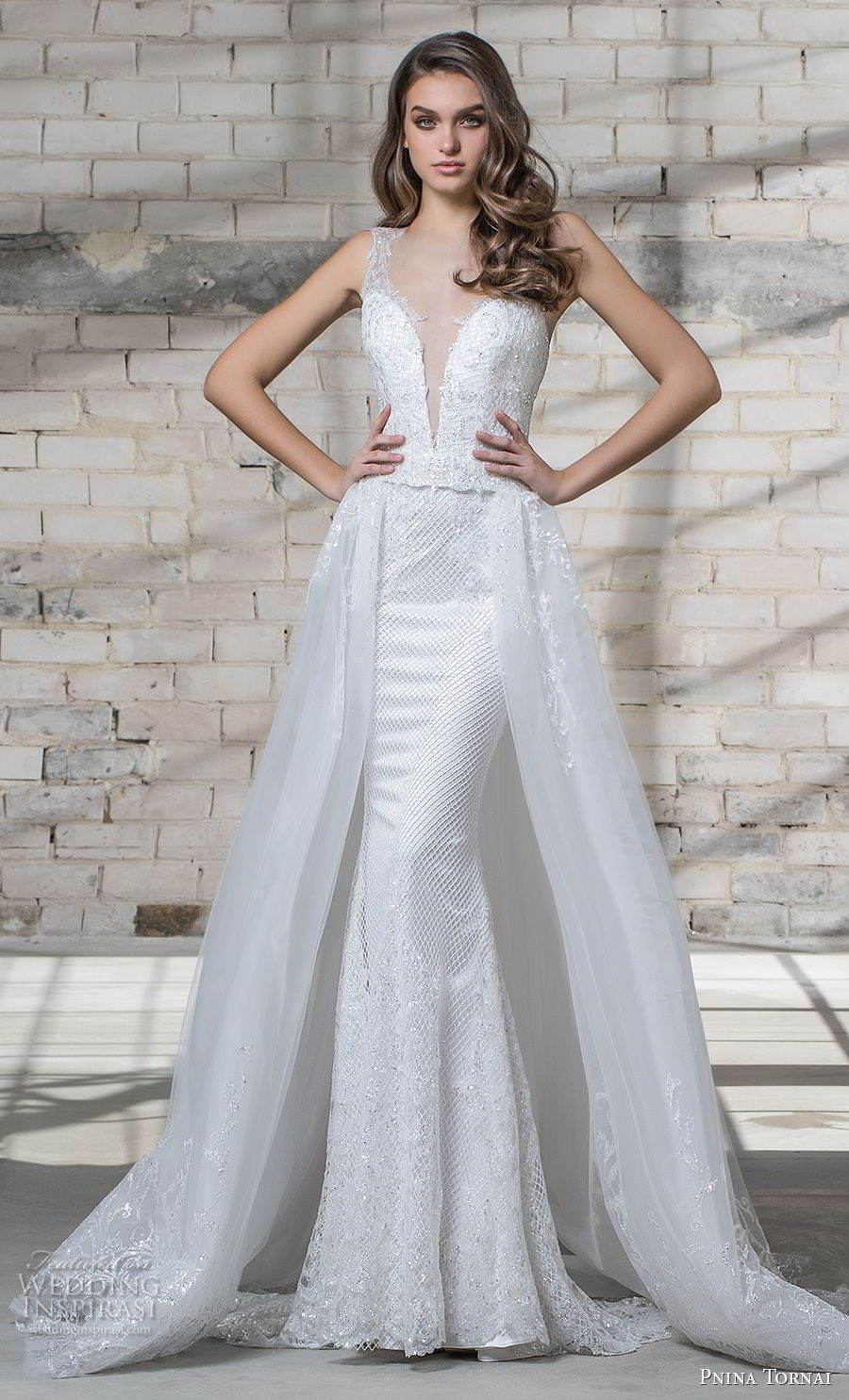 pnina tornai 2019 love bridal embellished strap deep plunging sweetheart neckline full embellishment elegant fit and flare wedding dress a line overskirt chapel train (17) mv