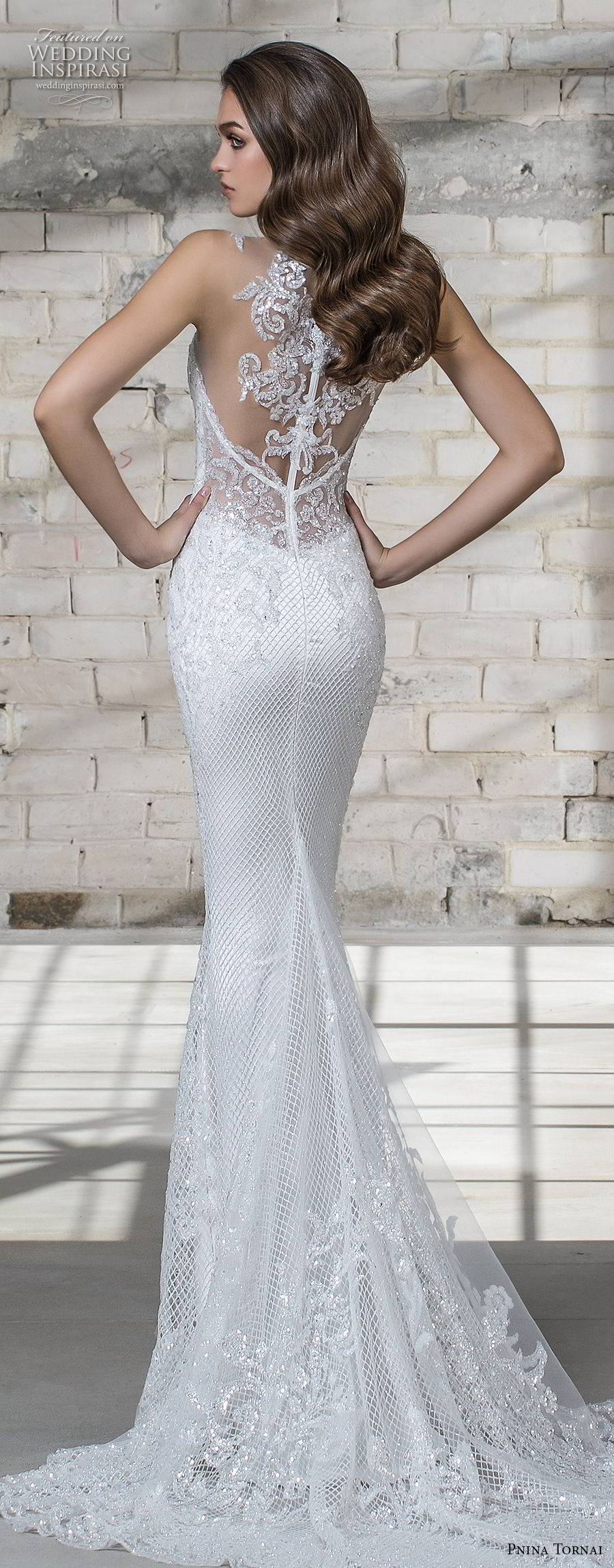pnina tornai 2019 love bridal embellished strap deep plunging sweetheart neckline full embellishment elegant fit and flare wedding dress chapel train (17) bv