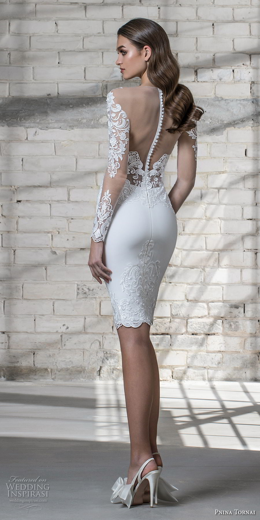 pnina tornai 2019 love bridal long sleeves deep plunging sweetheart neckline heavily embellished bodice miniskirt above the knee short wedding dress sheer button back (15) bv