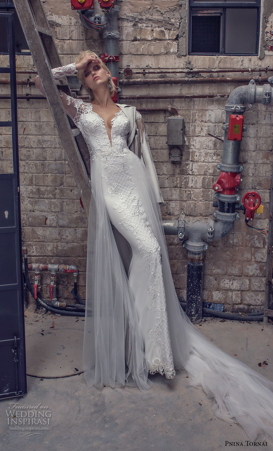 pnina tornai 2019 love bridal long sleeves deep plunging v neck full embellishment elegant fit and flare wedding dress a line overskirt chapel train (9) mv