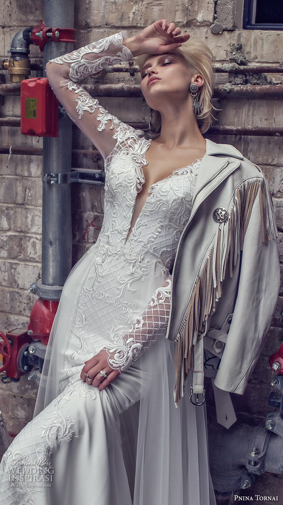 pnina tornai 2019 love bridal long sleeves deep plunging v neck full embellishment elegant fit and flare wedding dress a line overskirt chapel train (9) zv