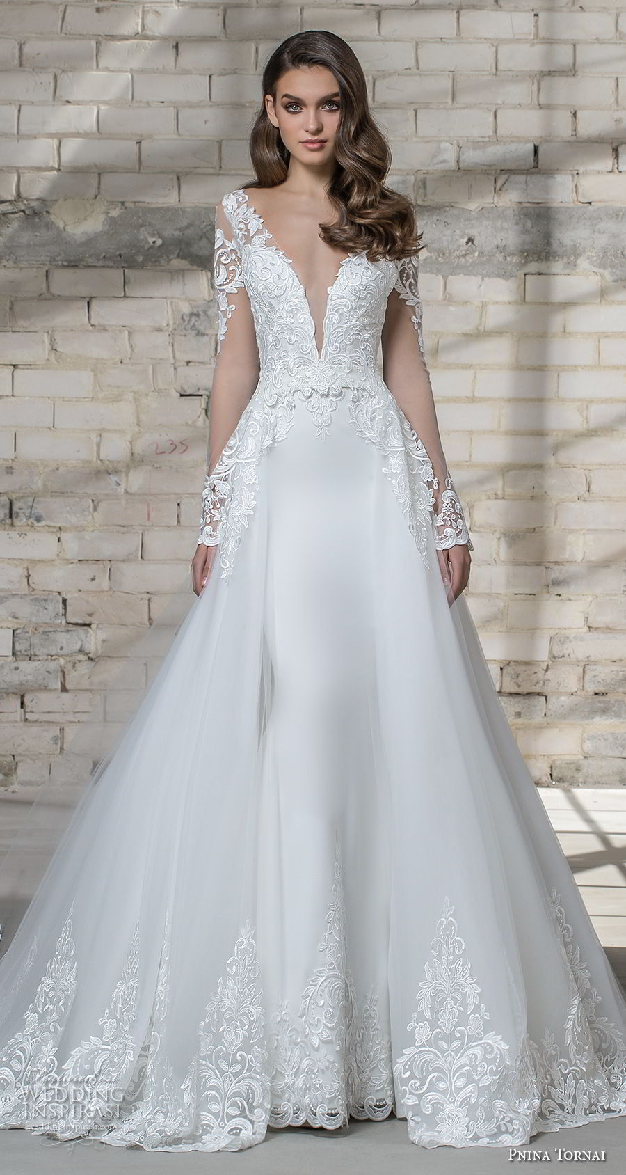 pnina tornai 2019 love bridal long sleeves deep plunging v neck heavily embellished bodice elegant princess sheath wedding dress a line overskirt sheer button back chapel train (10) bv mv