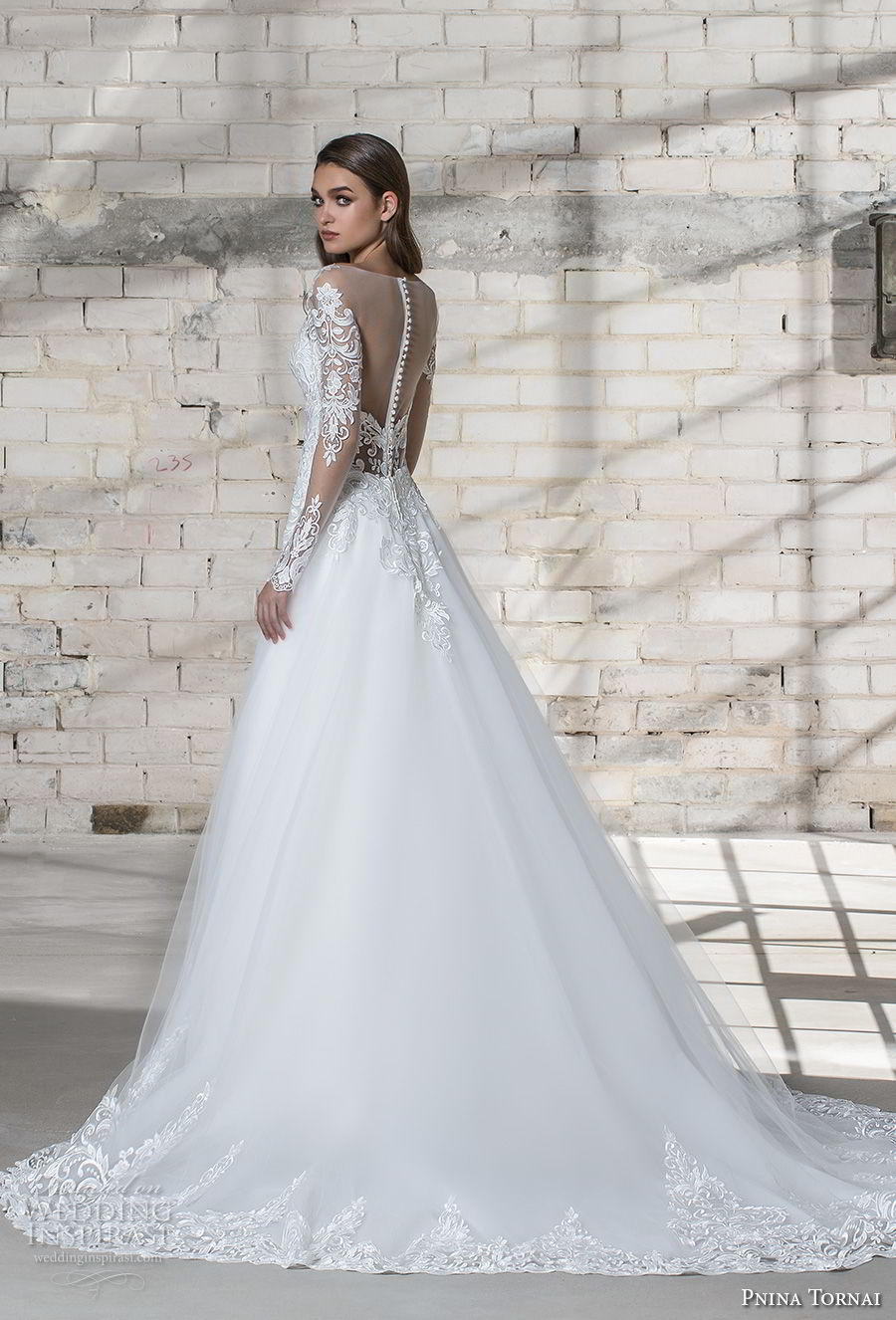 pnina tornai 2019 love bridal long sleeves deep plunging v neck heavily embellished bodice elegant princess sheath wedding dress a line overskirt sheer button back chapel train (10) bv
